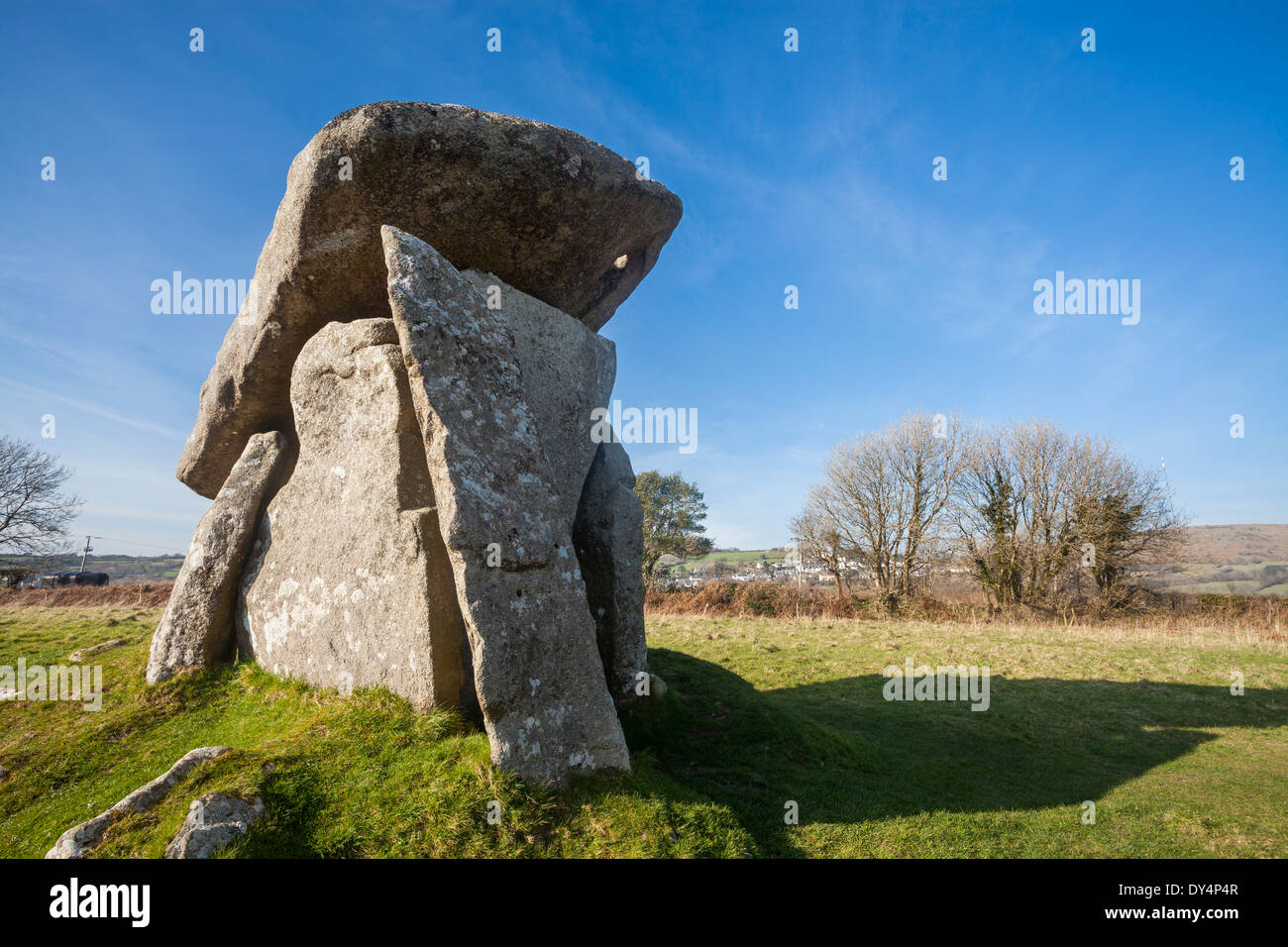 Trethevy Quoit a well preserved Neolithic dolmen burial chamber located near St Cleer and Darite in Cornwall, England UK Europe - Stock Image