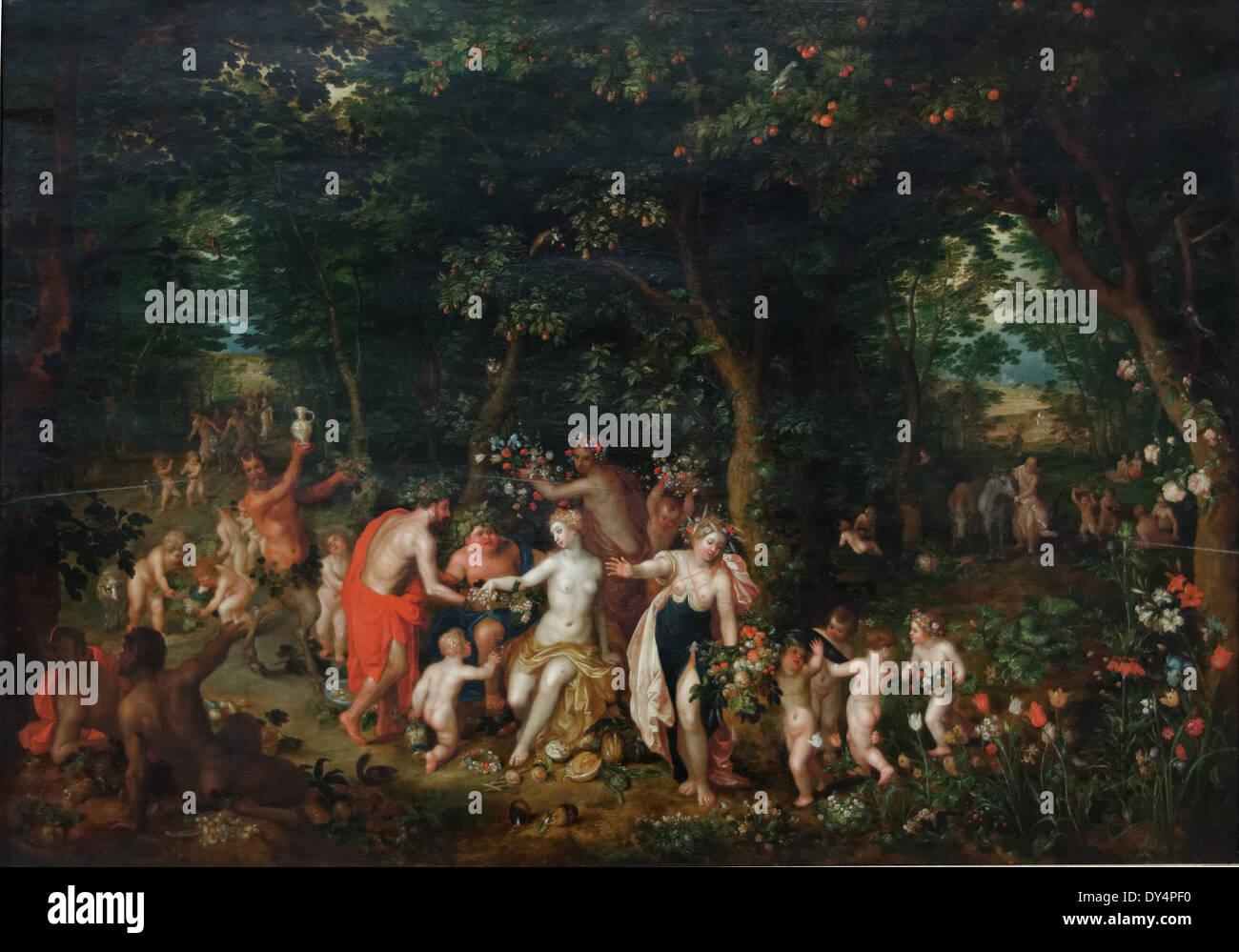 Jan Brueghel the Young - The Feast of Bacchus - XVII th Century - Flemish School - Gemäldegalerie - Berlin Stock Photo