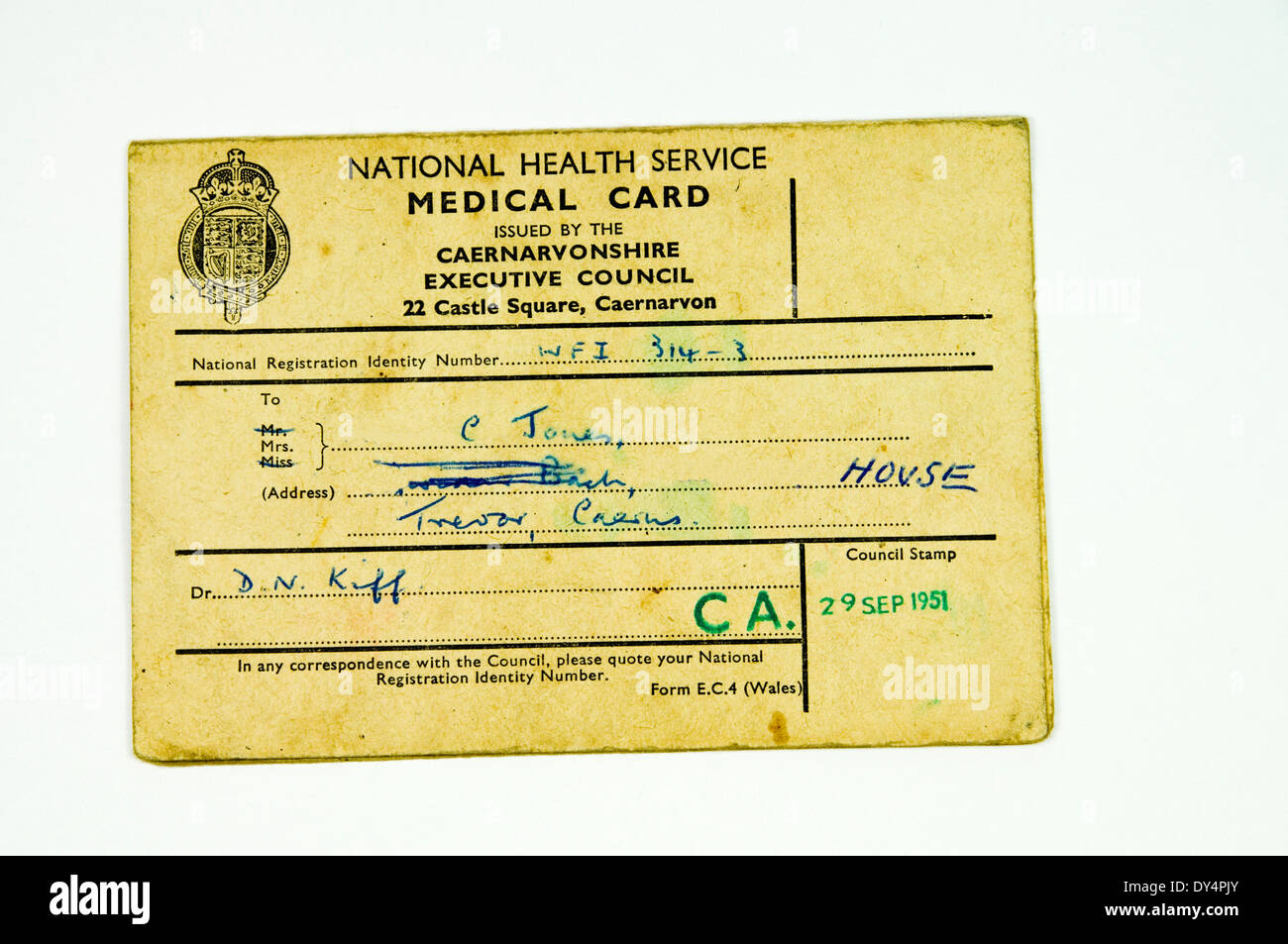 Old National Health Service Medical Card. - Stock Image