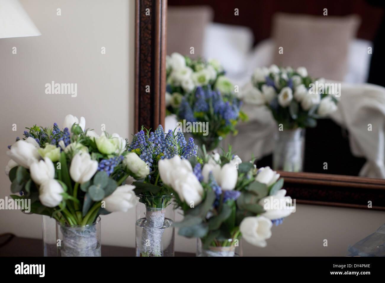 Wedding Flowers White Tulips Blue Hyacinths Stock Photo 68332446