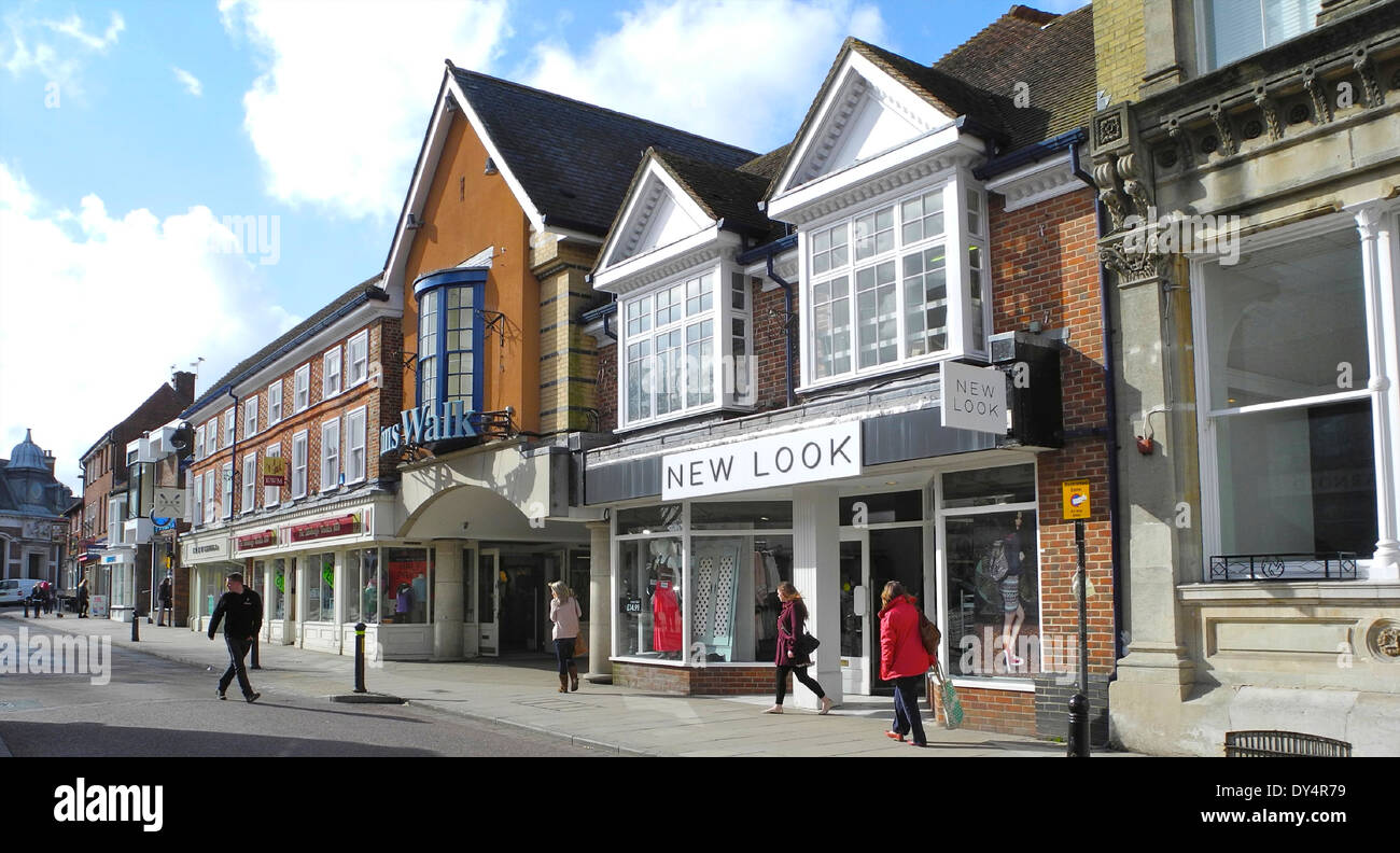 High Street in Petersfield, Hampshire Hants. Petersfield is a small partly pedestrianised market town. - Stock Image