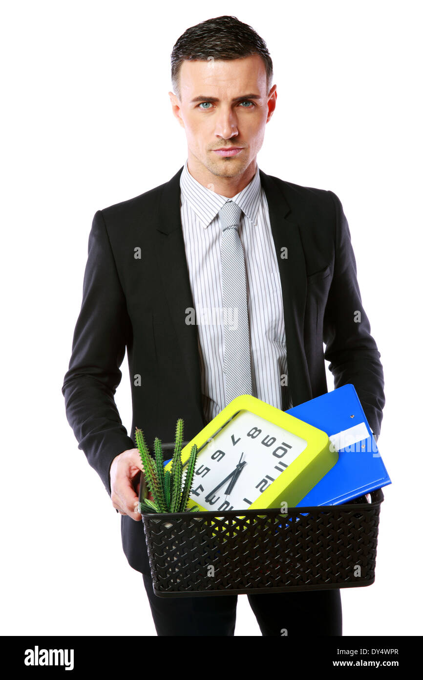 You are fired! Businessman hold box with personal belongings isolated on white background - Stock Image