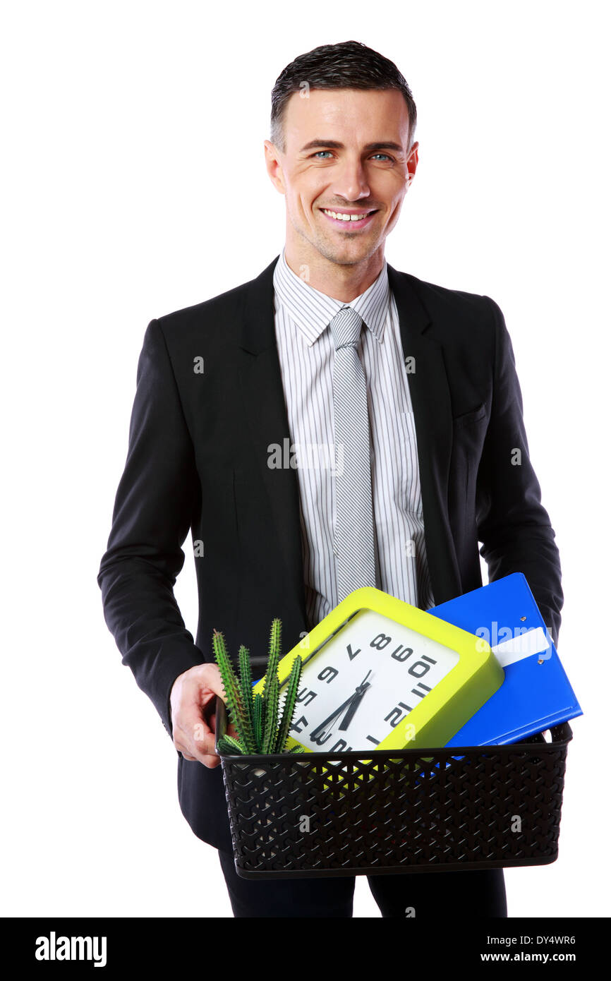 You are fired! Smiling businessman hold box with personal belongings isolated on white background - Stock Image