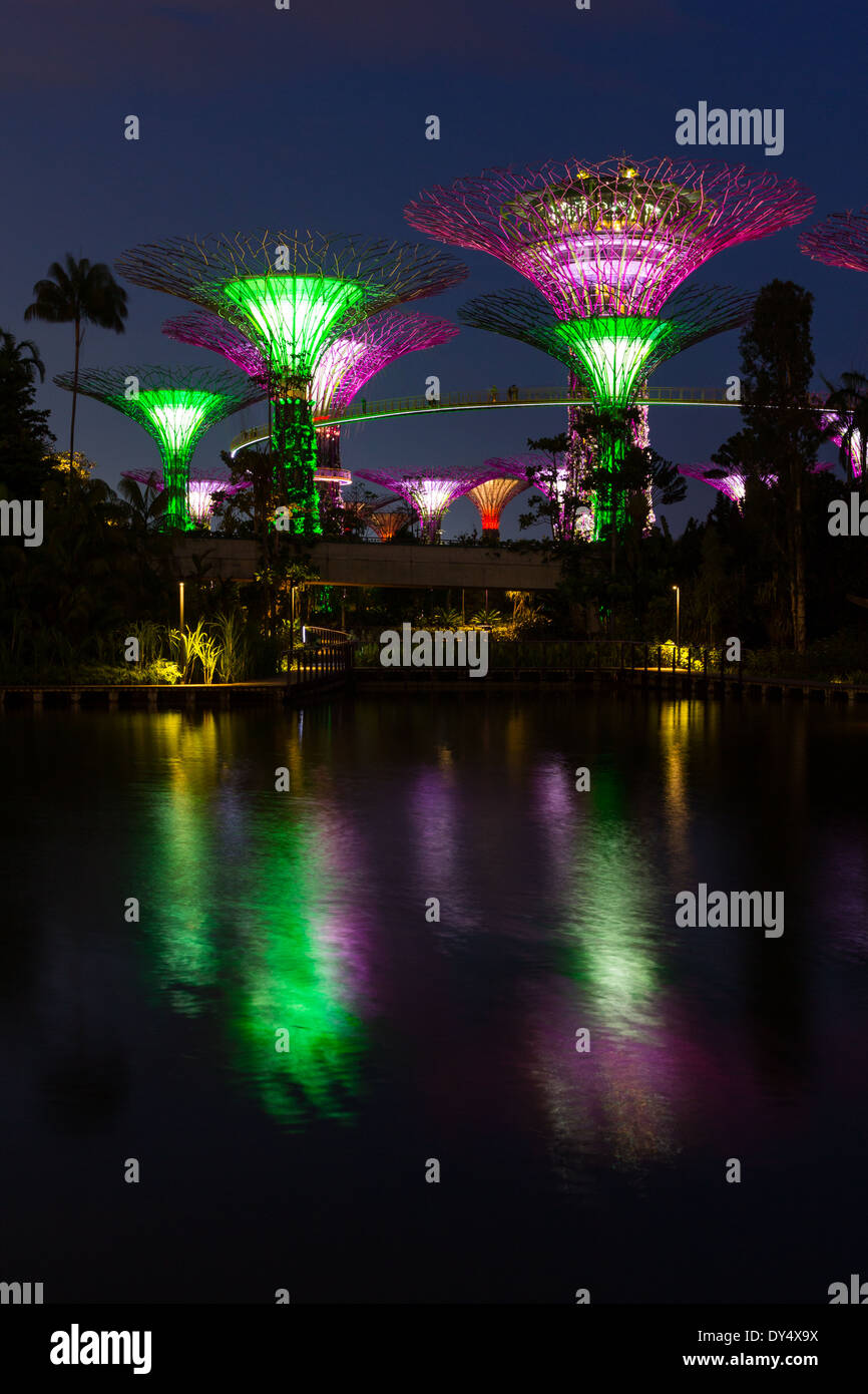 Gardens by the Bay - The park consists of three waterfront gardens: Bay South Garden, Bay East Garden and Bay Central Garden. Stock Photo