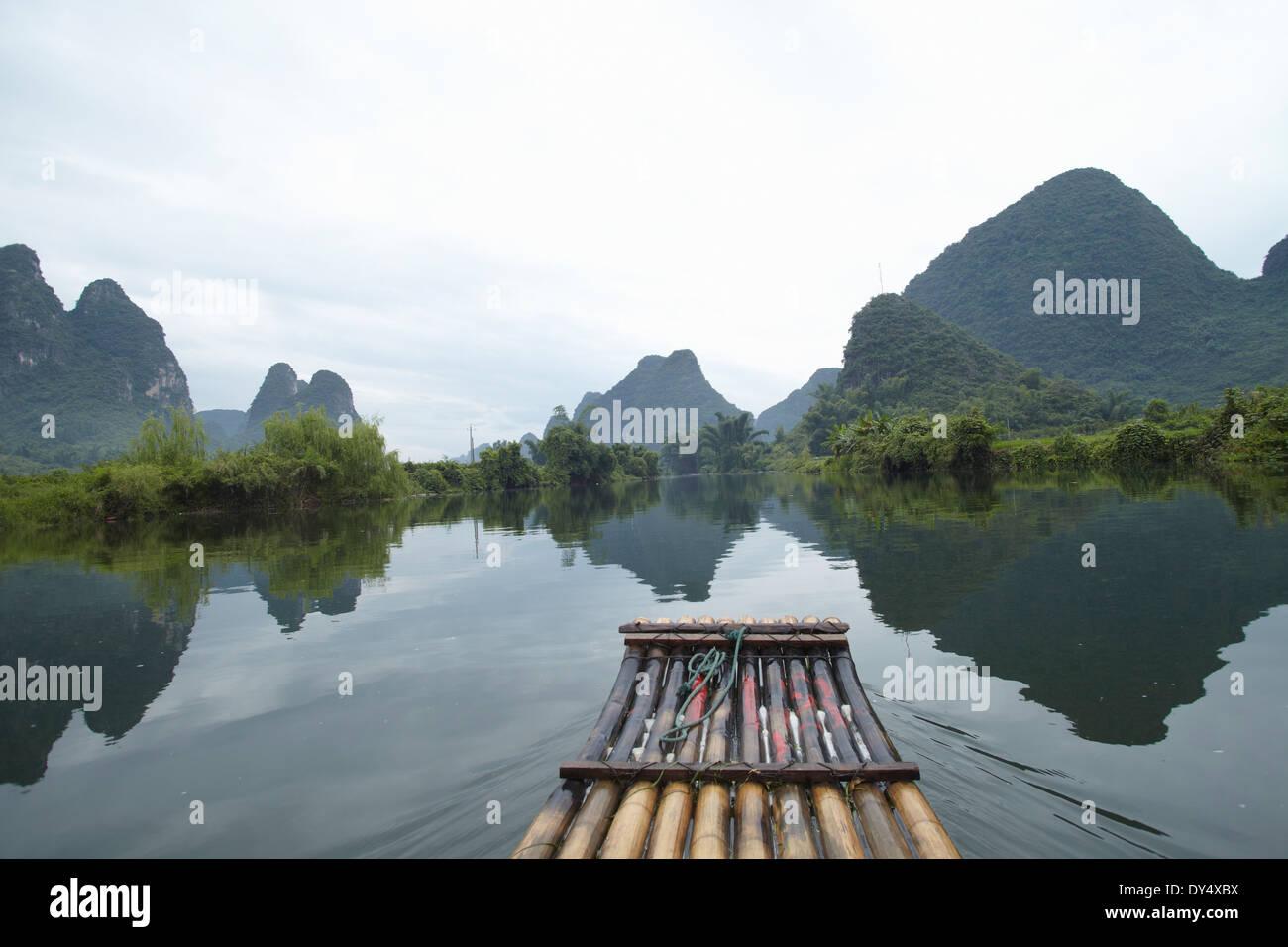 Bamboo rafting, Yangshuo, China Stock Photo