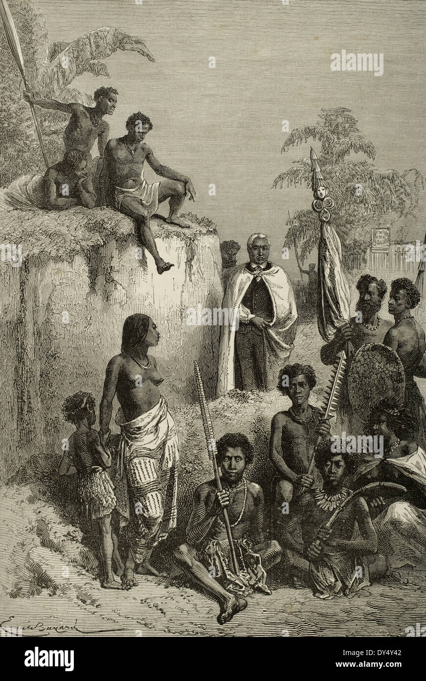 Kamehameha I (1758-1819). King of Hawaii Island. Hawaiians, 1819.  Kamehameha and his warriors.