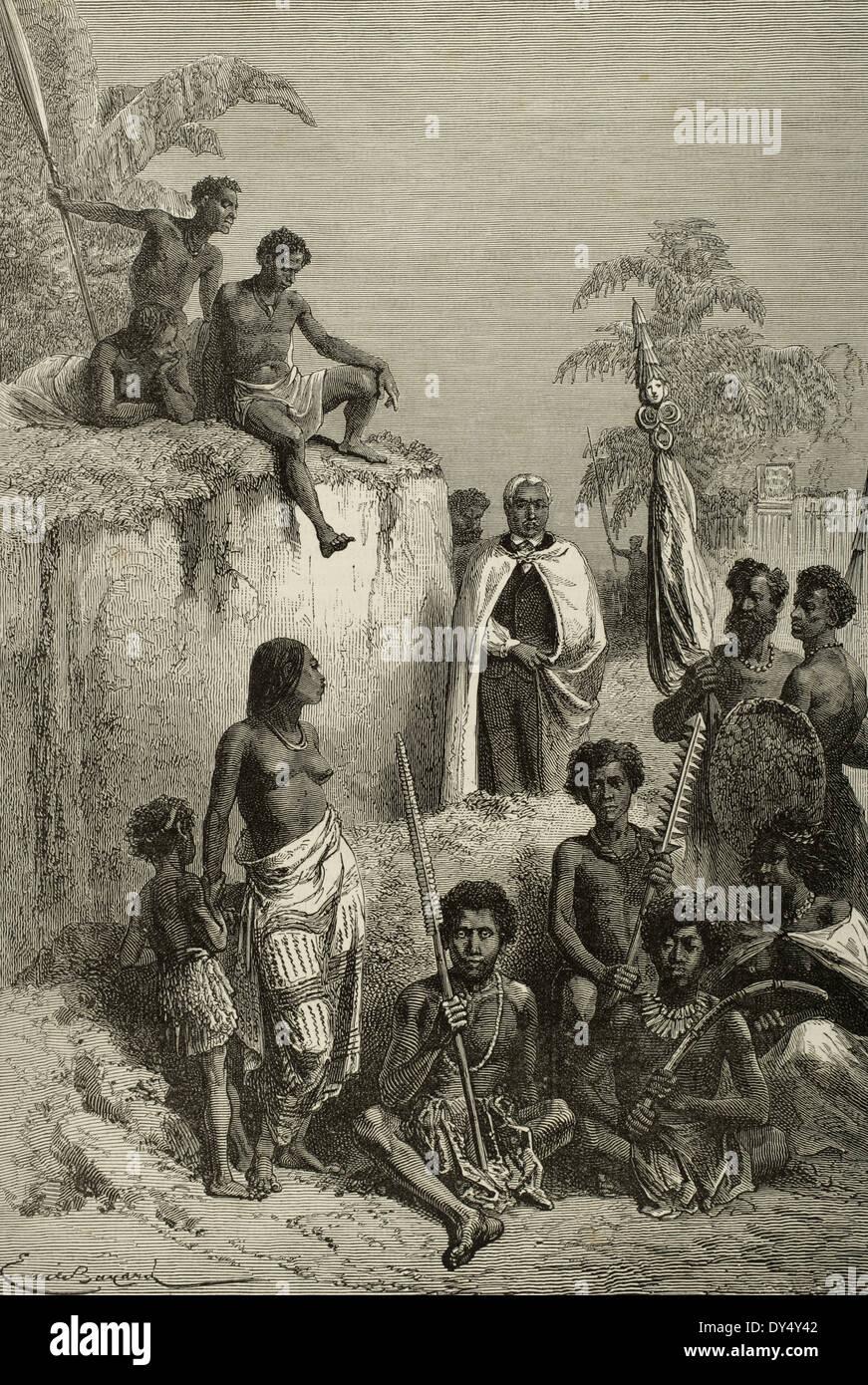 Kamehameha I (1758-1819). King of Hawaii Island. Hawaiians, 1819.  Kamehameha and his warriors.