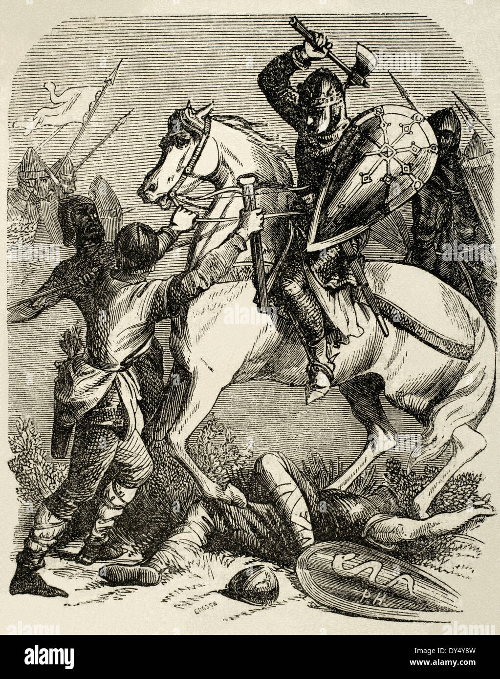 Louis VI (1081-1137). King of the Franks. Louis VI the Fat in the Battle of Brenneville, 1119. Engraving. - Stock Image