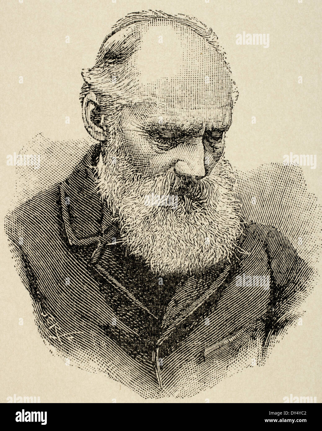 William Thomson, 1st Baron Kelvin (1824 -1907). British physicist and mathematician. Engraving. The Artistic illustration, 1896. - Stock Image