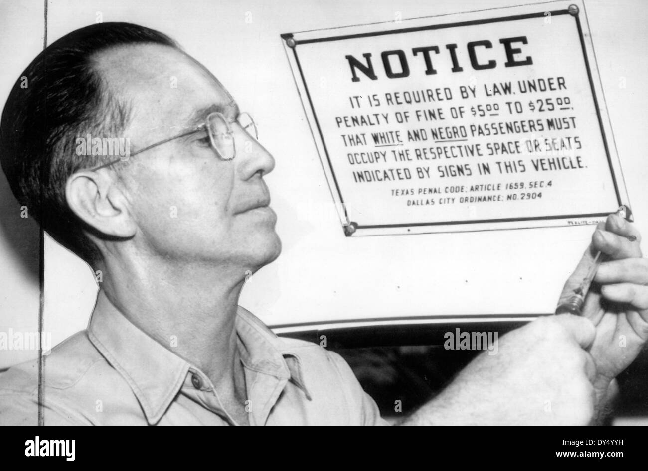 DALLAS CITY CODE SEGREGATION NOTICE 1941 - see Description below - Stock Image