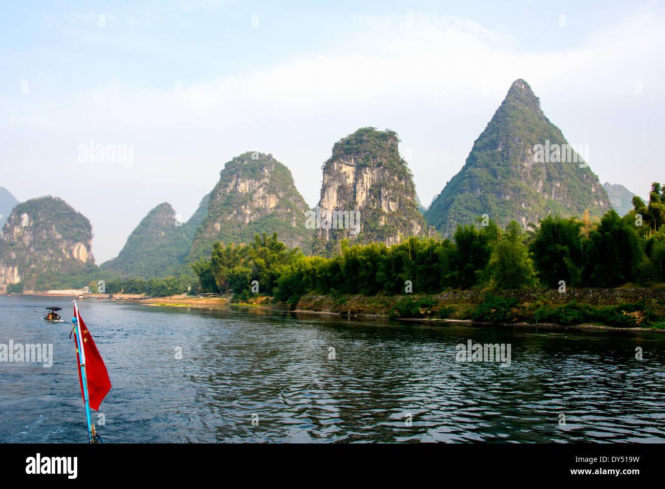 China, Yangshuo County, Li River Karst formations Stock Photo