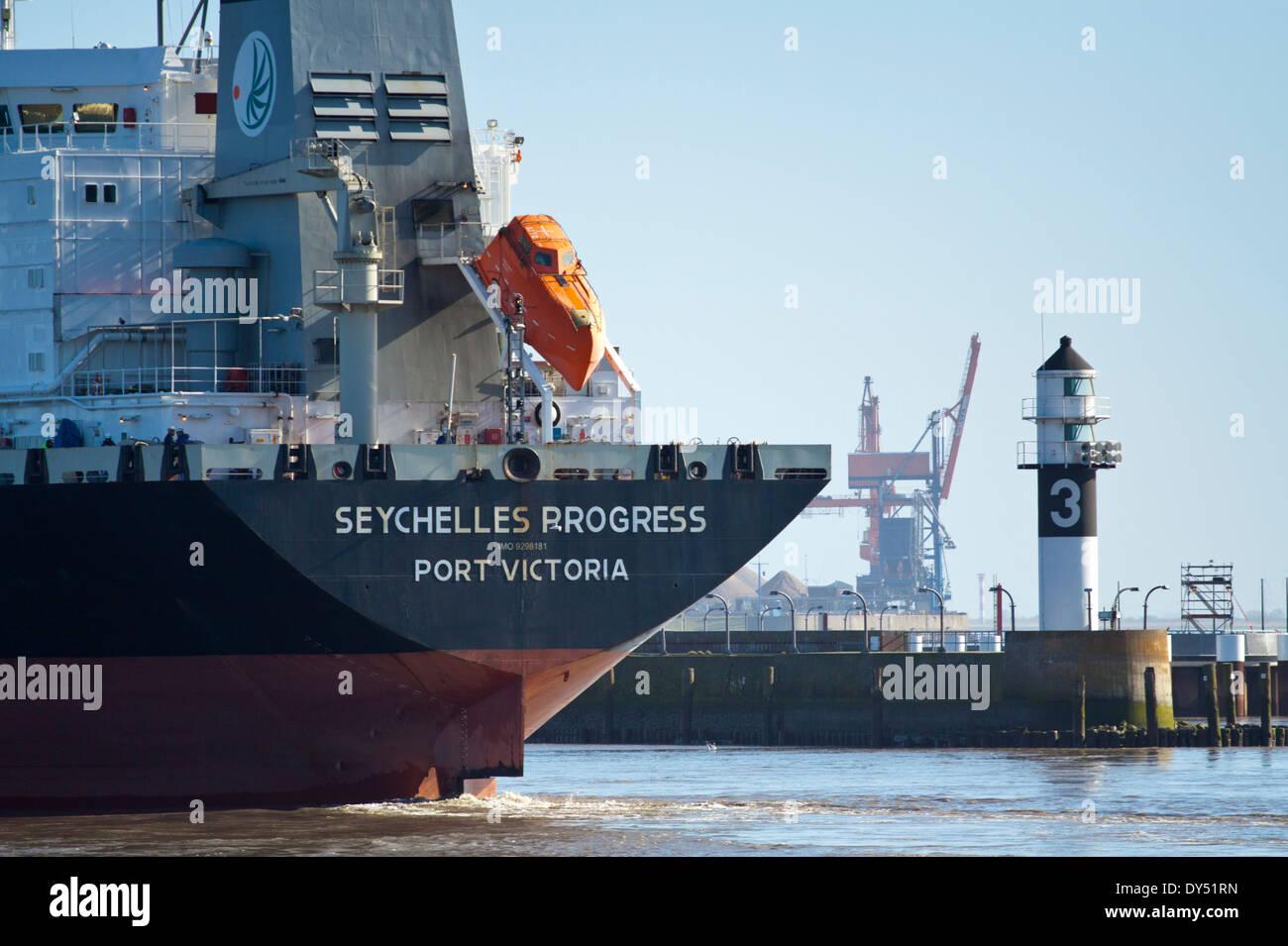 Chemical tanker Seychelles Progress as she enters the Brunsbuettel lock of the Kiel Canal - Stock Image