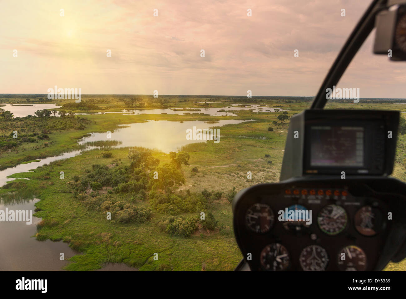 Aerial view from helicopter, Okavango Delta, Chobe National Park, Botswana, Africa - Stock Image