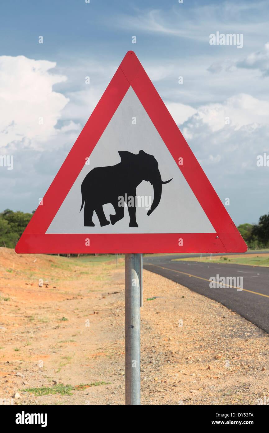 Elephant warning sign, Kasane, Chobe National Park, Botswana, Africa - Stock Image