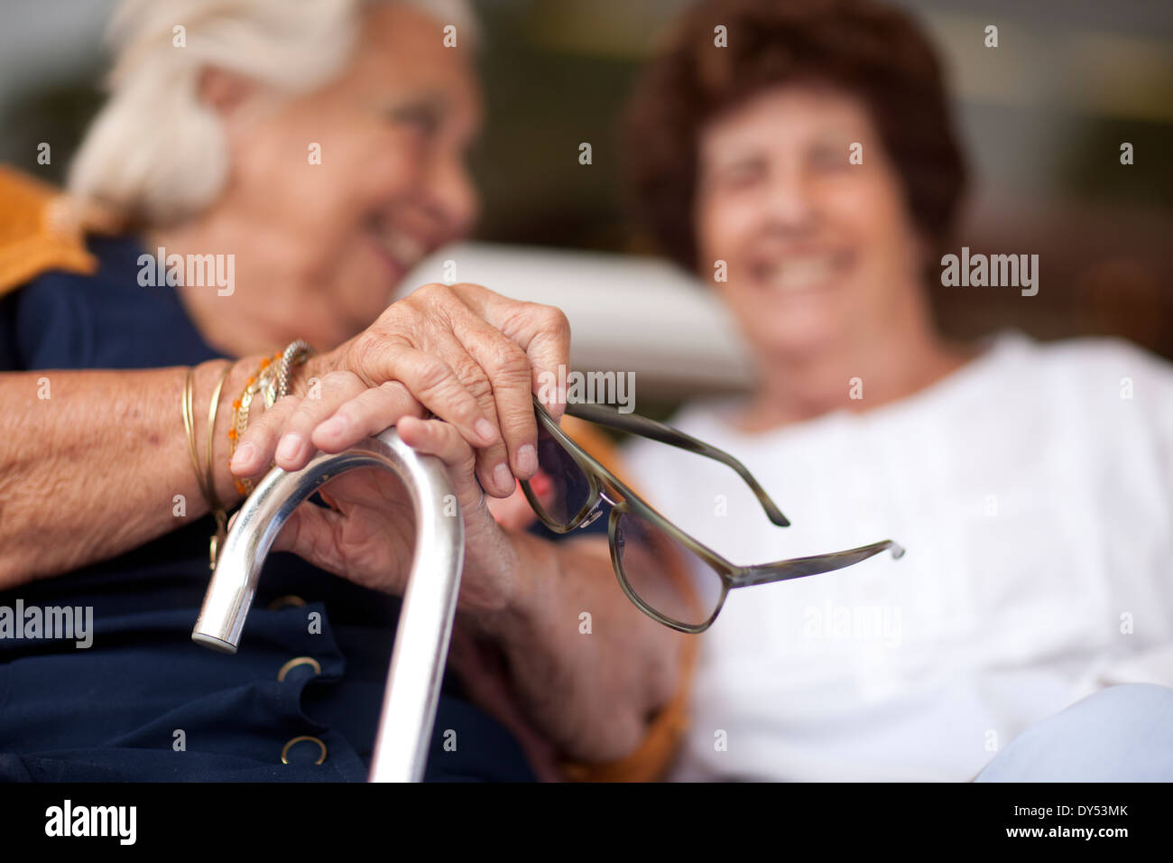 Two happy senior women chatting Stock Photo