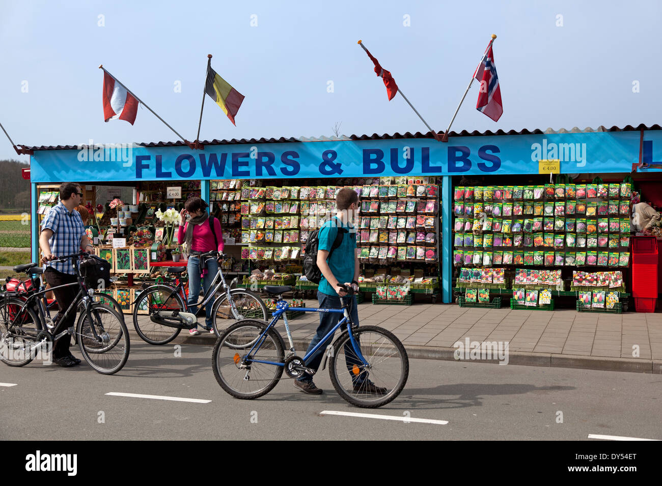 Selling and buying flower bulbs in Lisse Stock Photo