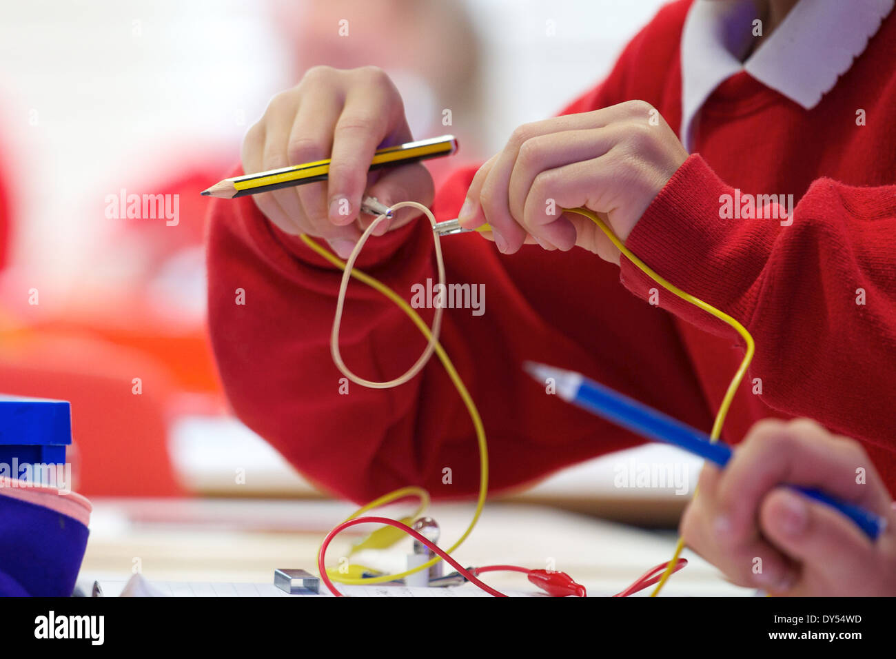 Children in a UK primary school science experiment with