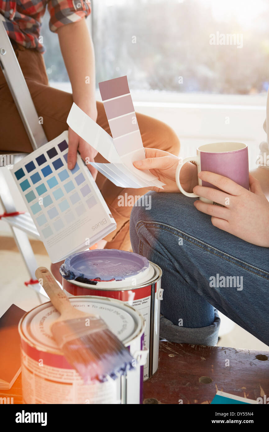Two teenage sisters with coffee and color swatches - Stock Image