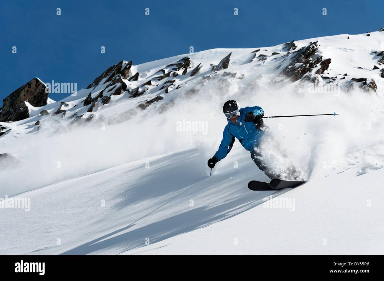 Man skiing downhill, Obergurgl, Austria - Stock Image