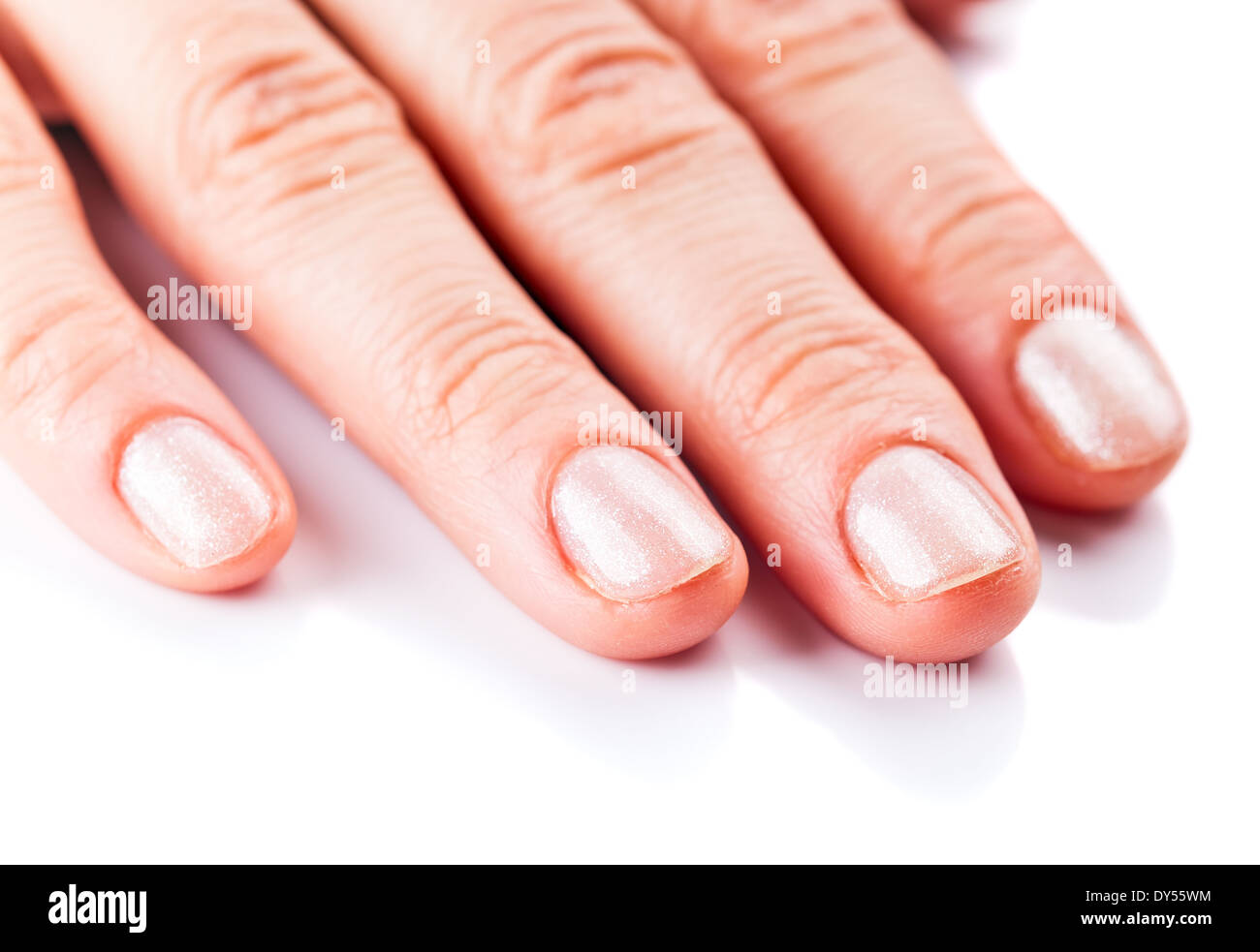 Female hand with manicure on short nails Stock Photo: 68341216 - Alamy
