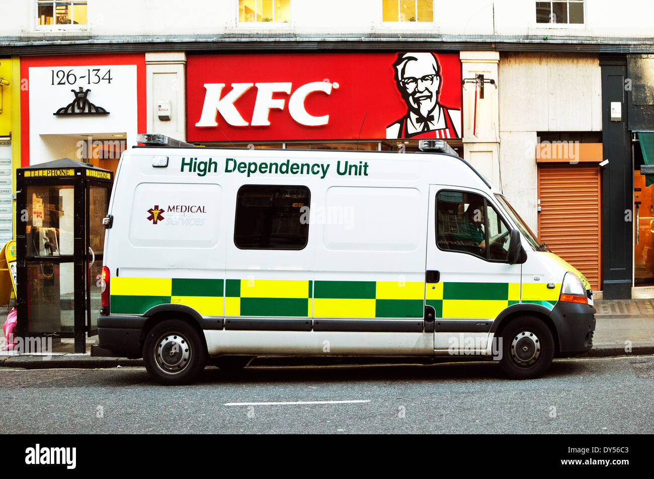 High Dependency ambulance, Baker Street, London, England, UK - Stock Image