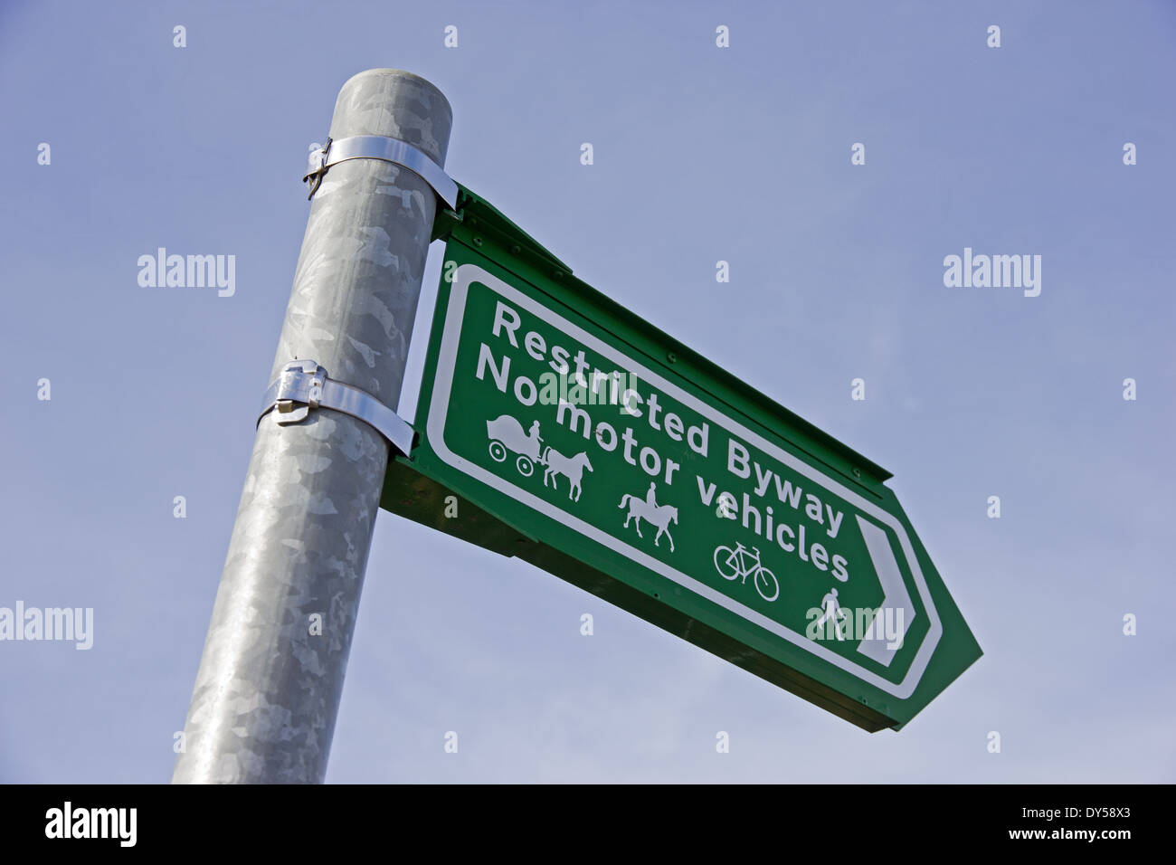 Restricted Byway sign, No Motor Vehicles - Stock Image