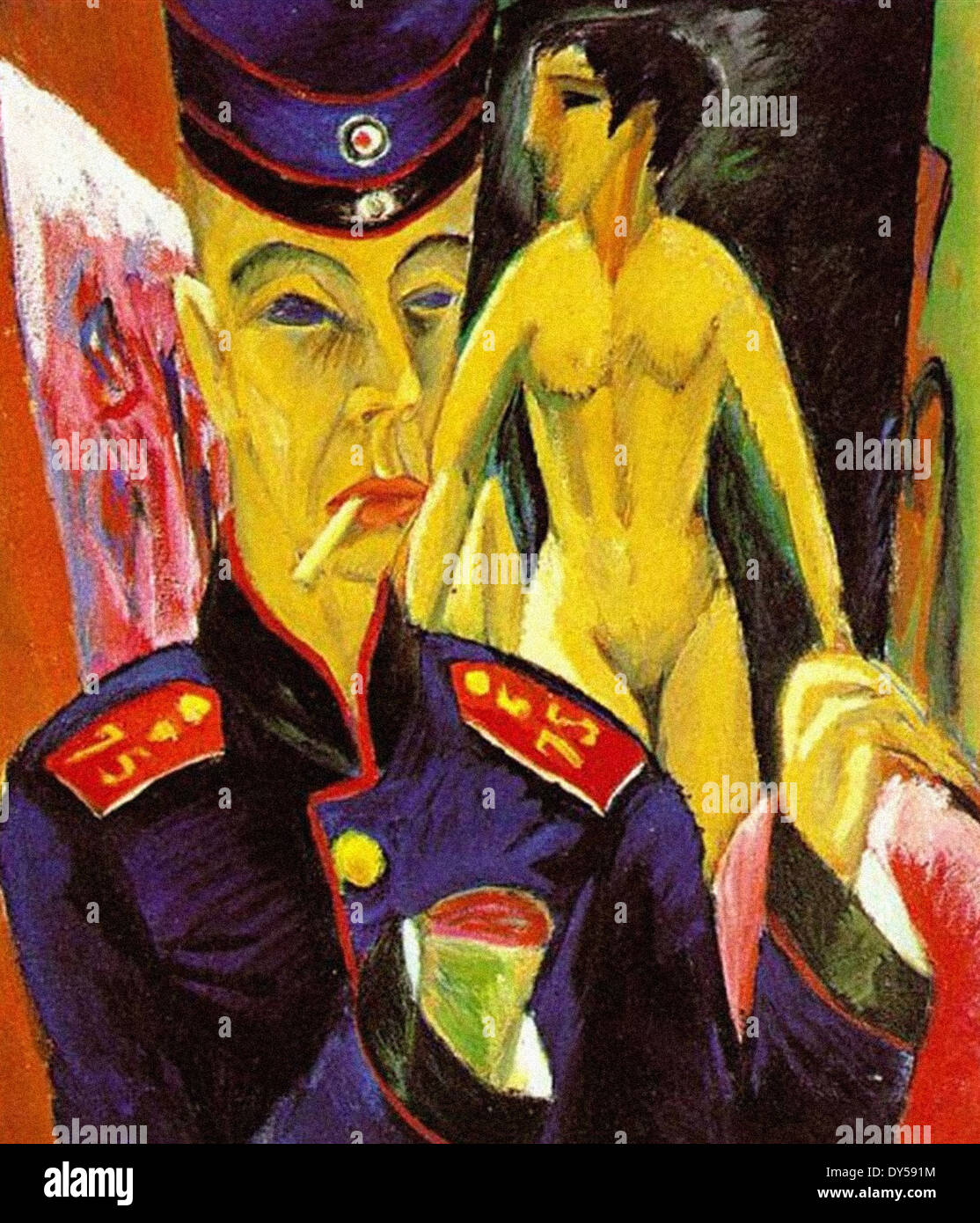 Ernst Ludwig Kirchner Self-Portrait as a Soldier - Stock Image
