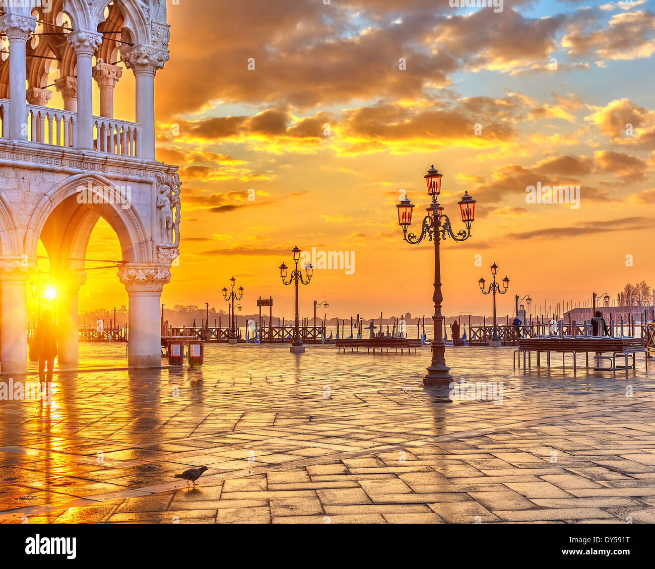 Sunrise in Venice - Stock Image