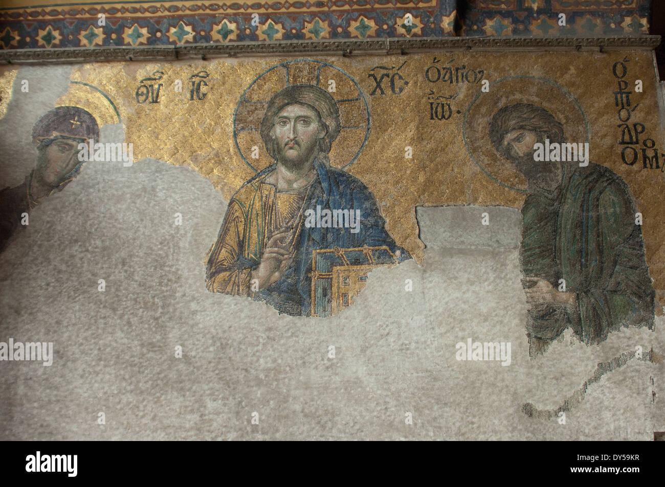 Byzantine mosaic of Jesus in the Hagia Sophia, Istanbul. Digital photograph Stock Photo