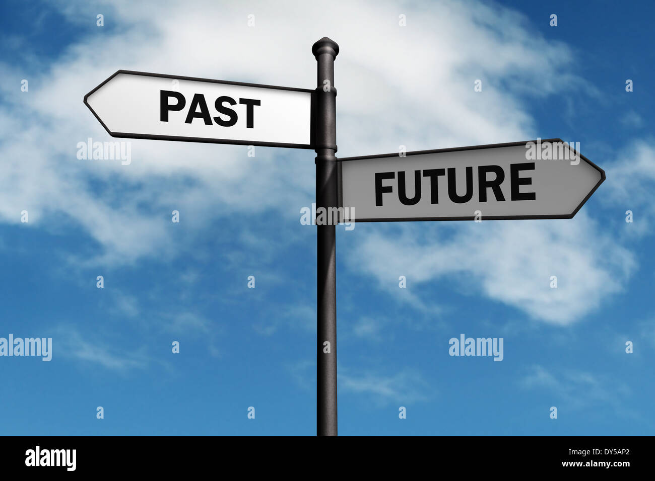 Signpost with past and future direction choices - Stock Image