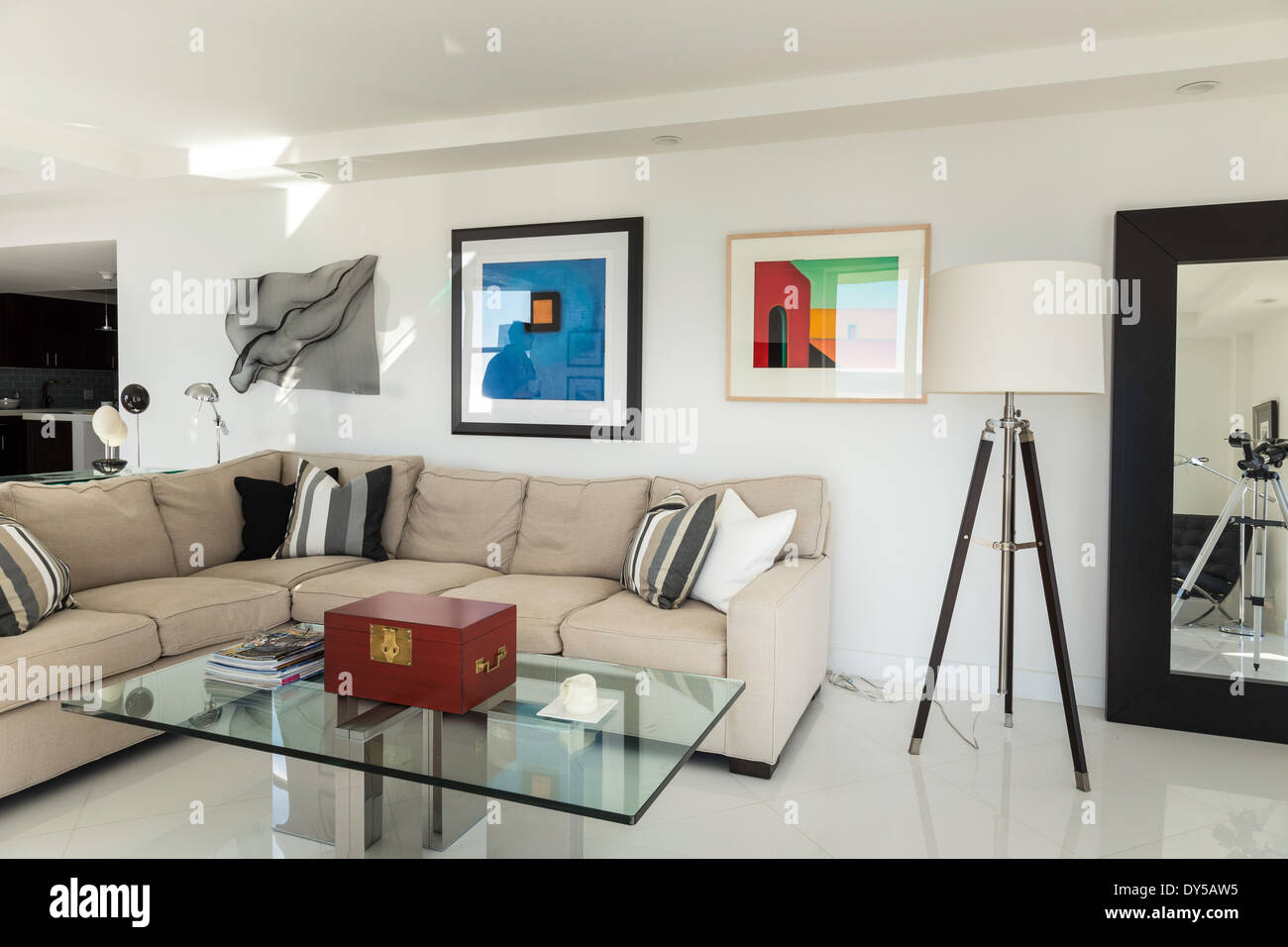 Showcase Luxury Condo Living Room, Fort Lauderdale, FL, USA Stock ...