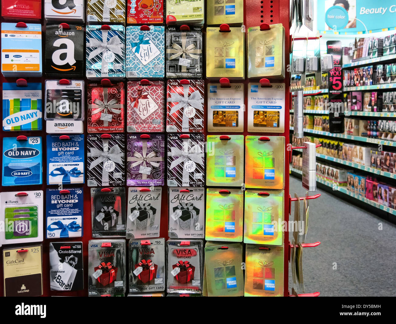 prepaid card center display cvs drugstore  usa stock photo