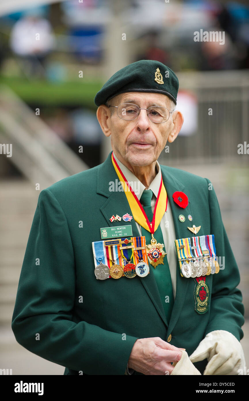 Korean War veteran in uniform attending Vancouver Remembrance Day ceremony. - Stock Image
