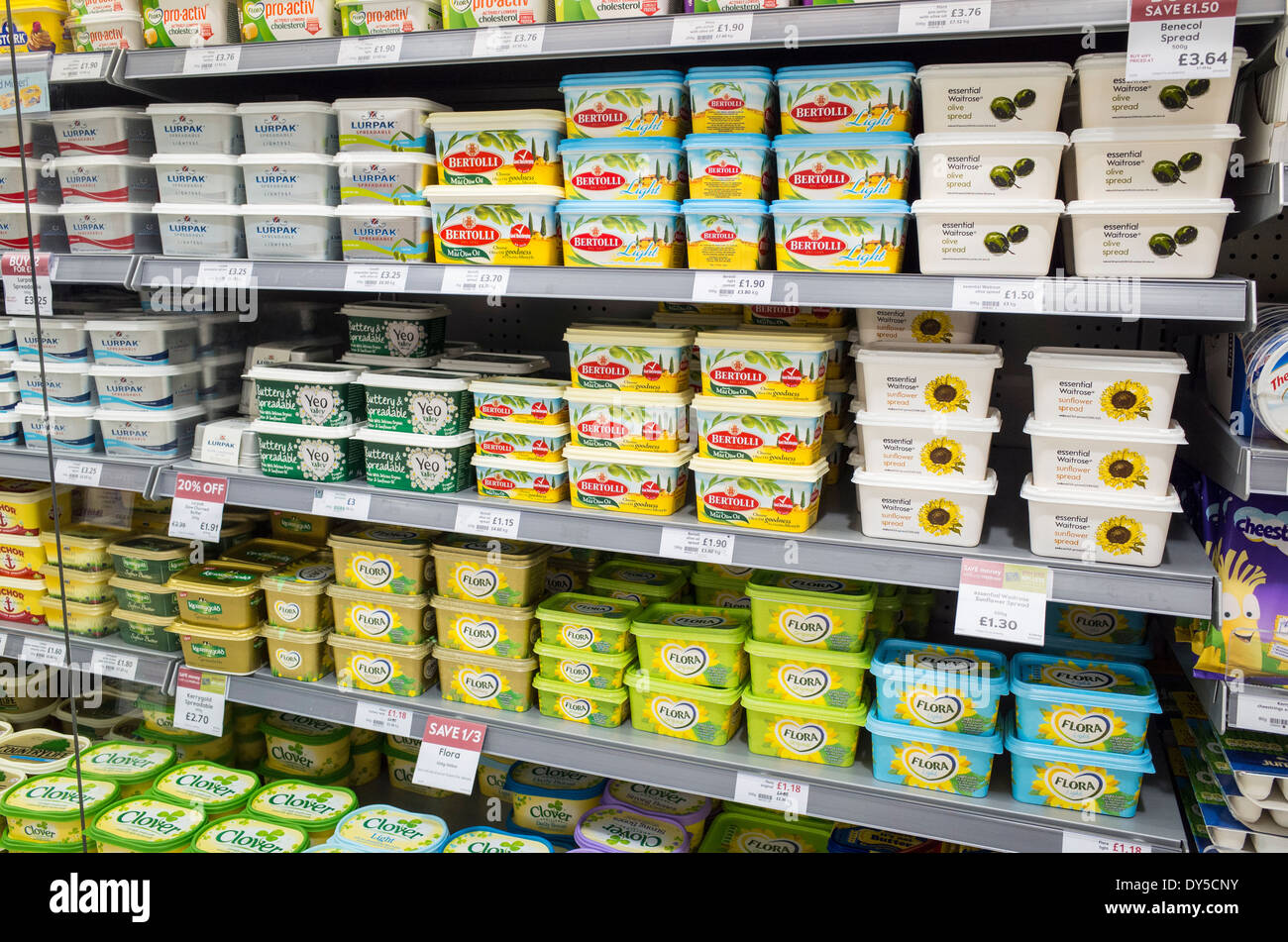 Tubs of Margarine Spreads on Supermarket Selves - Stock Image