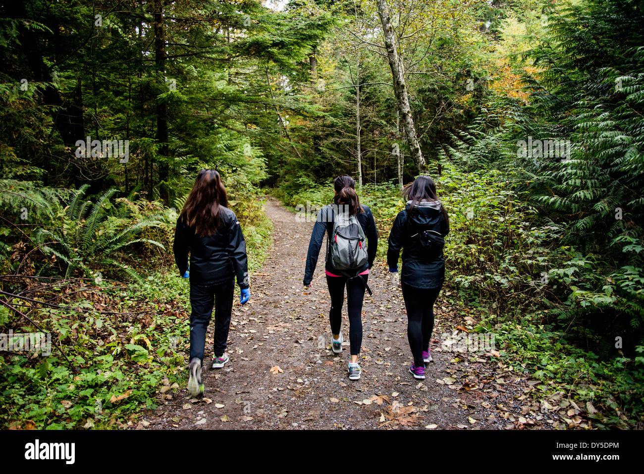 Three young female hikers walking through wood, Squamish, British Columbia, Canada - Stock Image