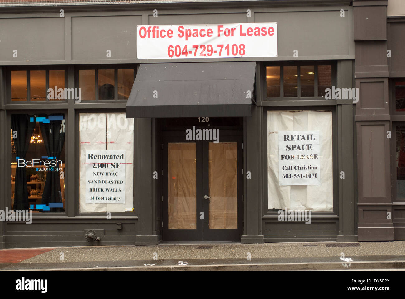 Retail office for rent or lease on Hastings street Vancouver BC. - Stock Image