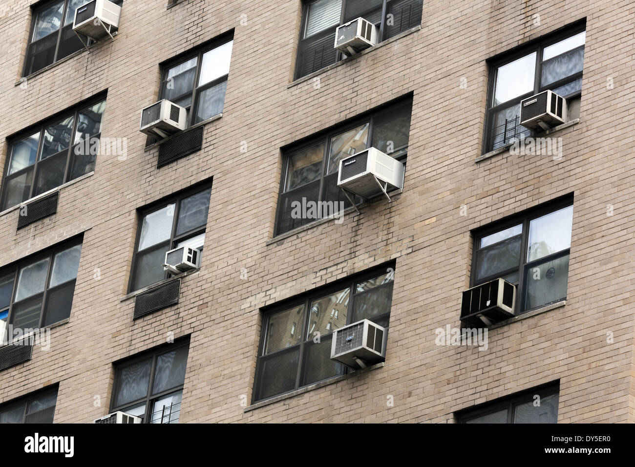Air Conditioning Units Placed In Window Frames Swamp Coolers Stock