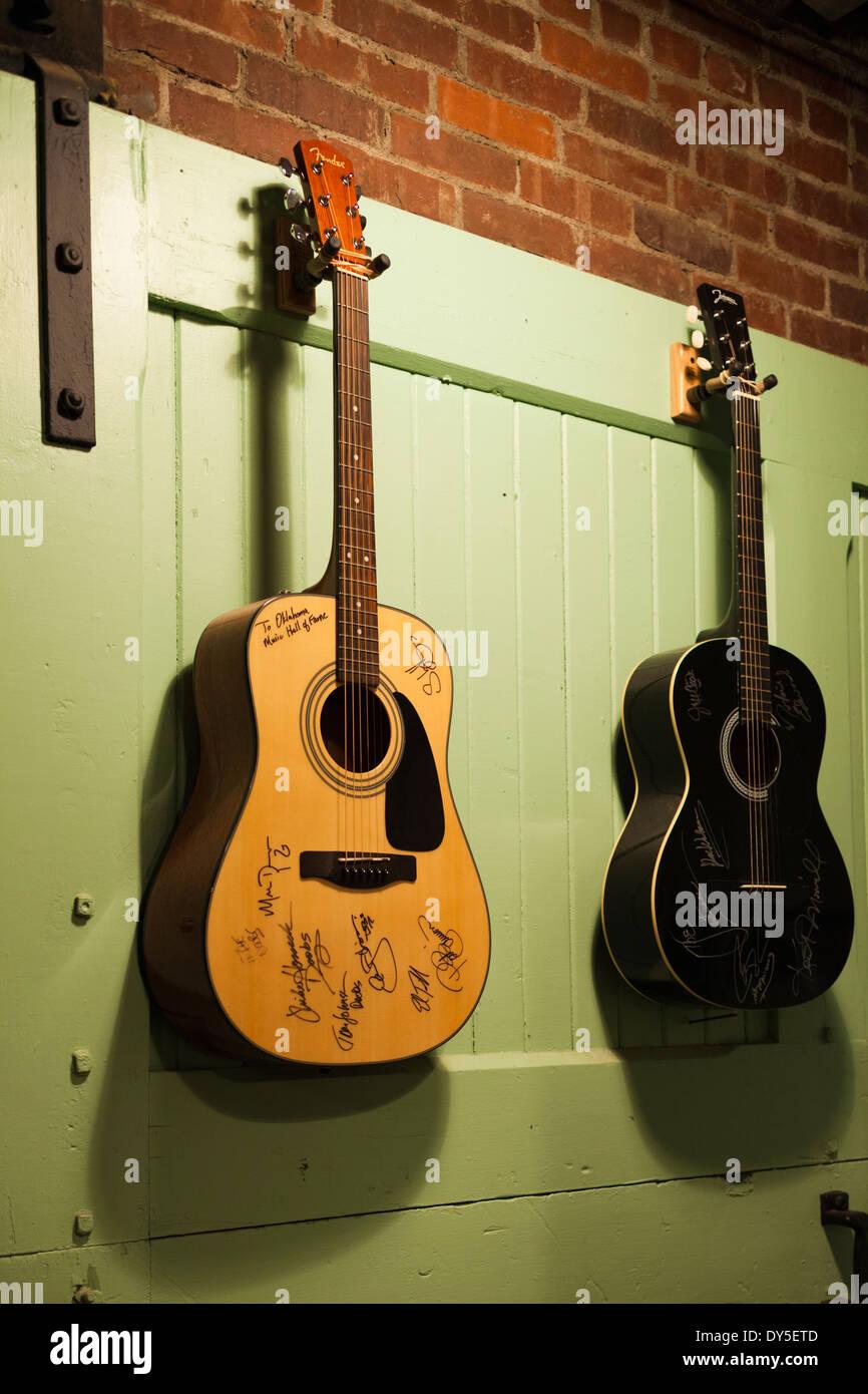 USA, Oklahoma, Muskogee, Oklahoma Music Hall of Fame, guitars Stock Photo