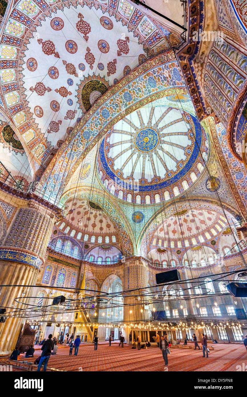 Interior of the Blue Mosque (Sultanahmet Camii), Sultanahmet district, Istanbul,Turkey - Stock Image