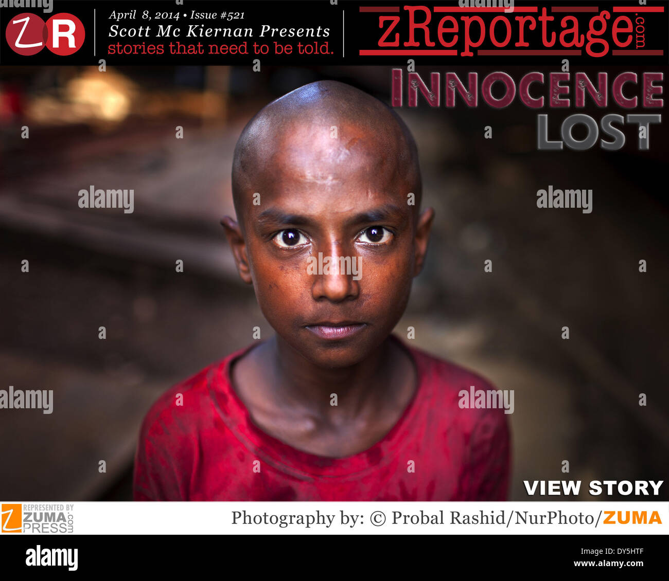 zReportage.com Story of the Week # 521 - Innocence Lost - Launched April 8, 2014 - Full multimedia experience: audio, stills, text and or video: Go to zReportage.com to see more - According to the Labour Laws of Bangladesh, the minimum legal age for employment is 14. However, as 93 per cent of child laborers work in small factories and workshops, and on the street - the enforcement of labour laws is virtually impossible. Poverty causes families to send children to work, often in hazardous and low-wage jobs, such as brick-chipping, construction and refuse collecting. Children are paid less than - Stock Image