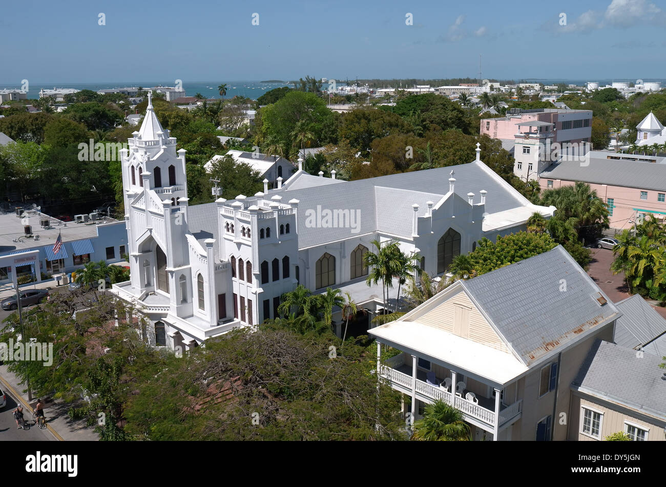 Aerial view of St. Paul's Episcopal Church, Key West, Florida - Stock Image
