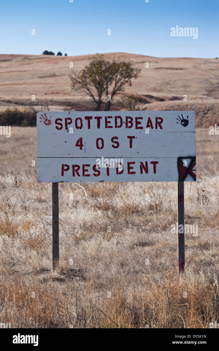 USA, South Dakota, Wounded Knee, campaign sign for candidate for tribal president Stock Photo