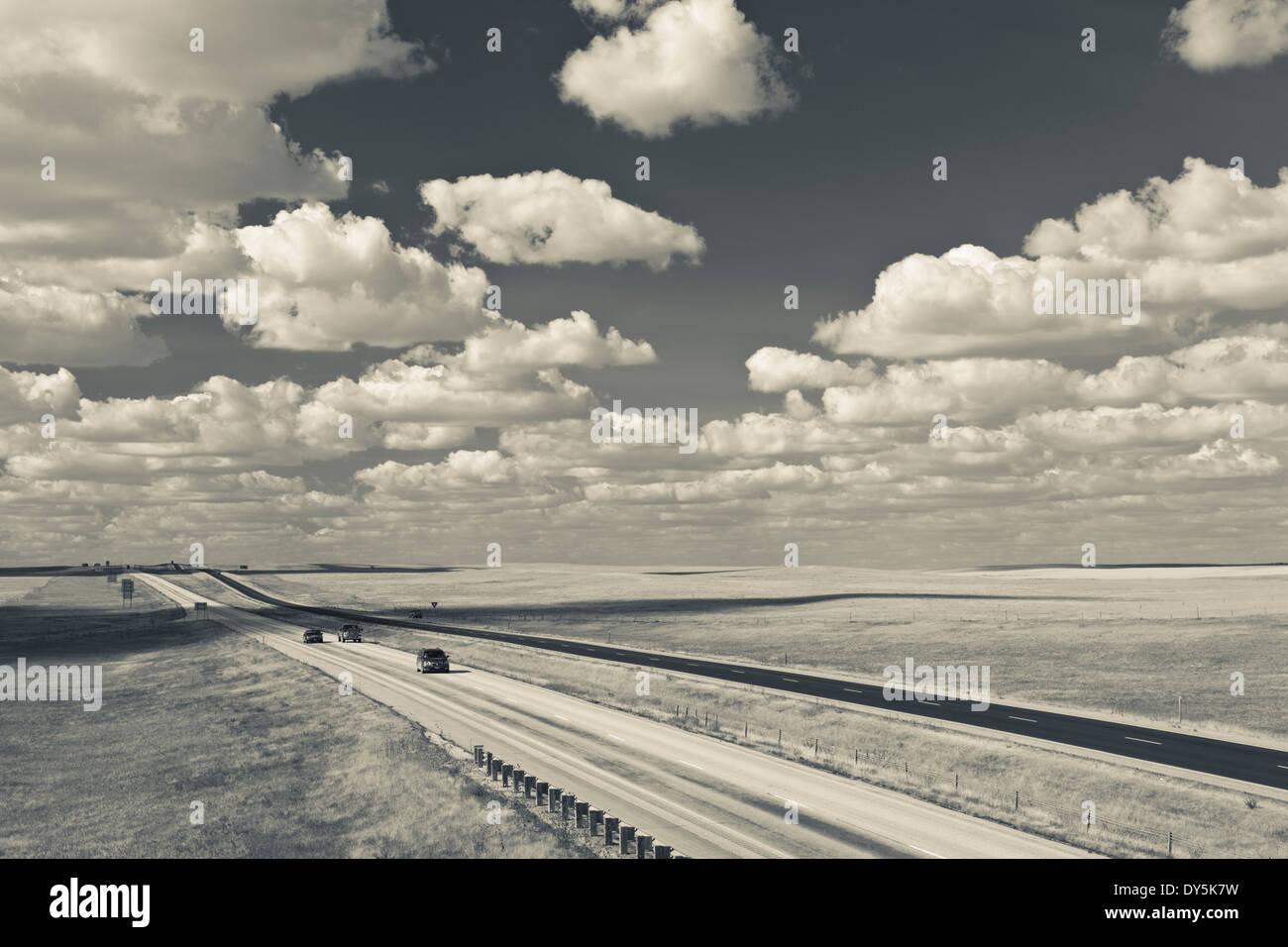 USA, South Dakota, Cactus Flat, elevated view of Interstate