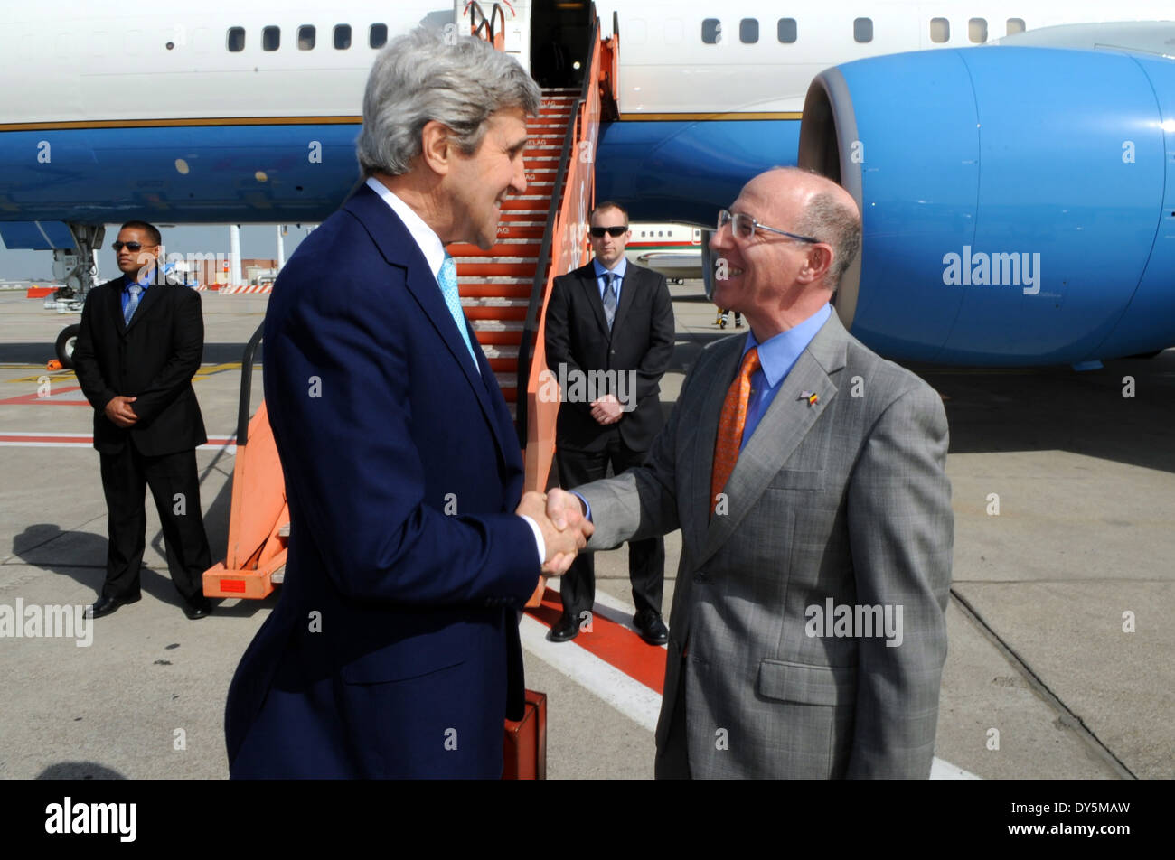 Charge d'Affaires Storella Welcomes Secretary Kerry to Brussels for NATO Ministerial - Stock Image