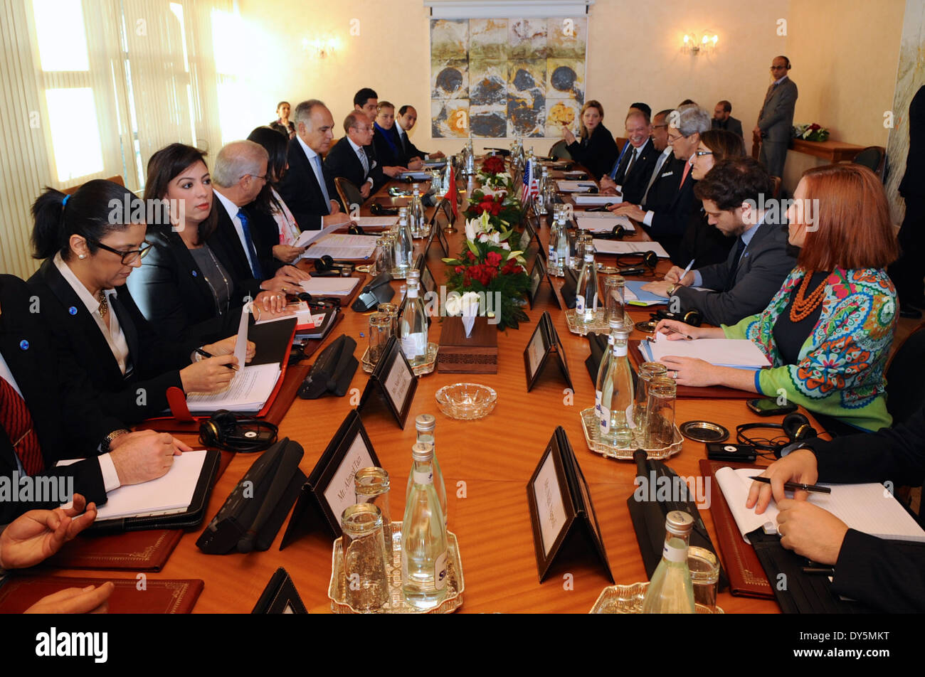 Secretary Kerry and Moroccan Foreign Minister Kick-off Strategic Dialogue in Rabat - Stock Image