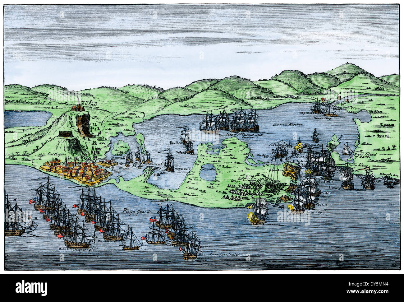 British naval invasion of Cartagena, Colombia, 1741. Hand-colored woodcut of a drawing by Gravelot - Stock Image
