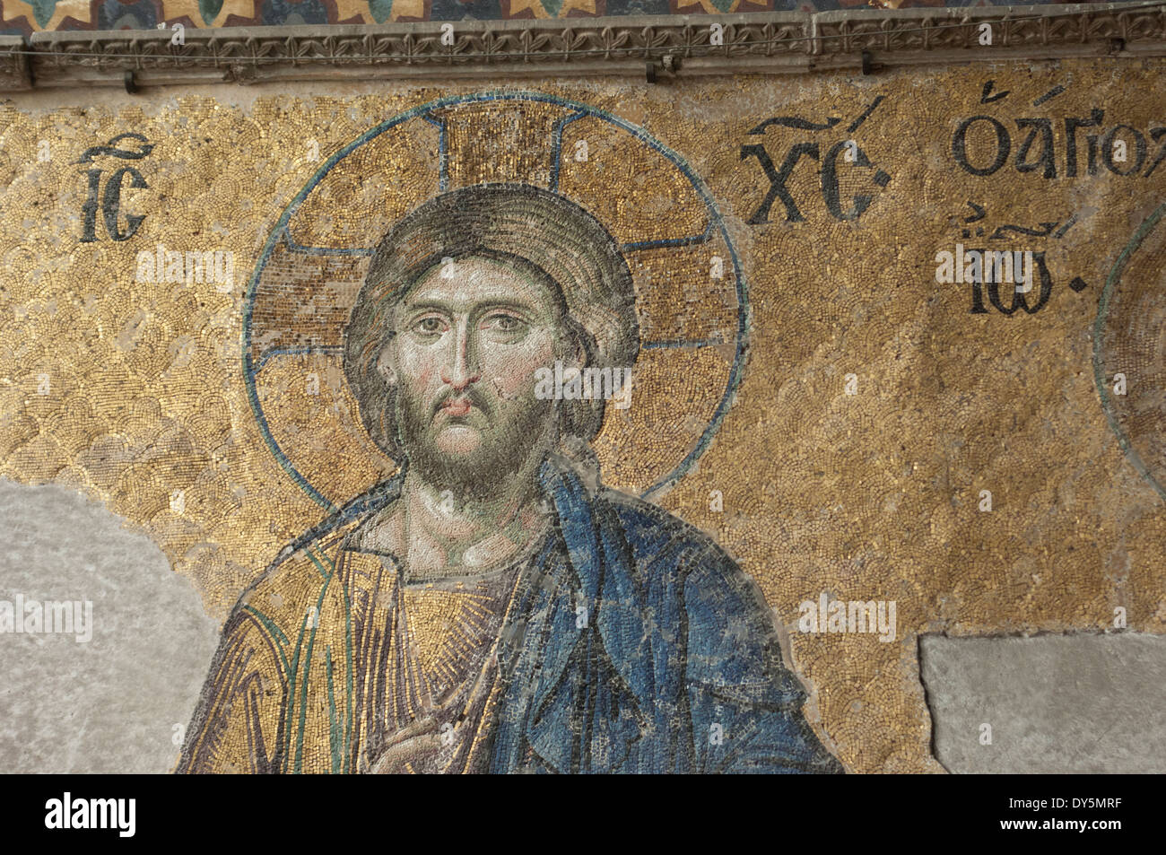 Byzantine mosaic of Jesus in the Hagia Sophia, Istanbul. Digital photograph - Stock Image
