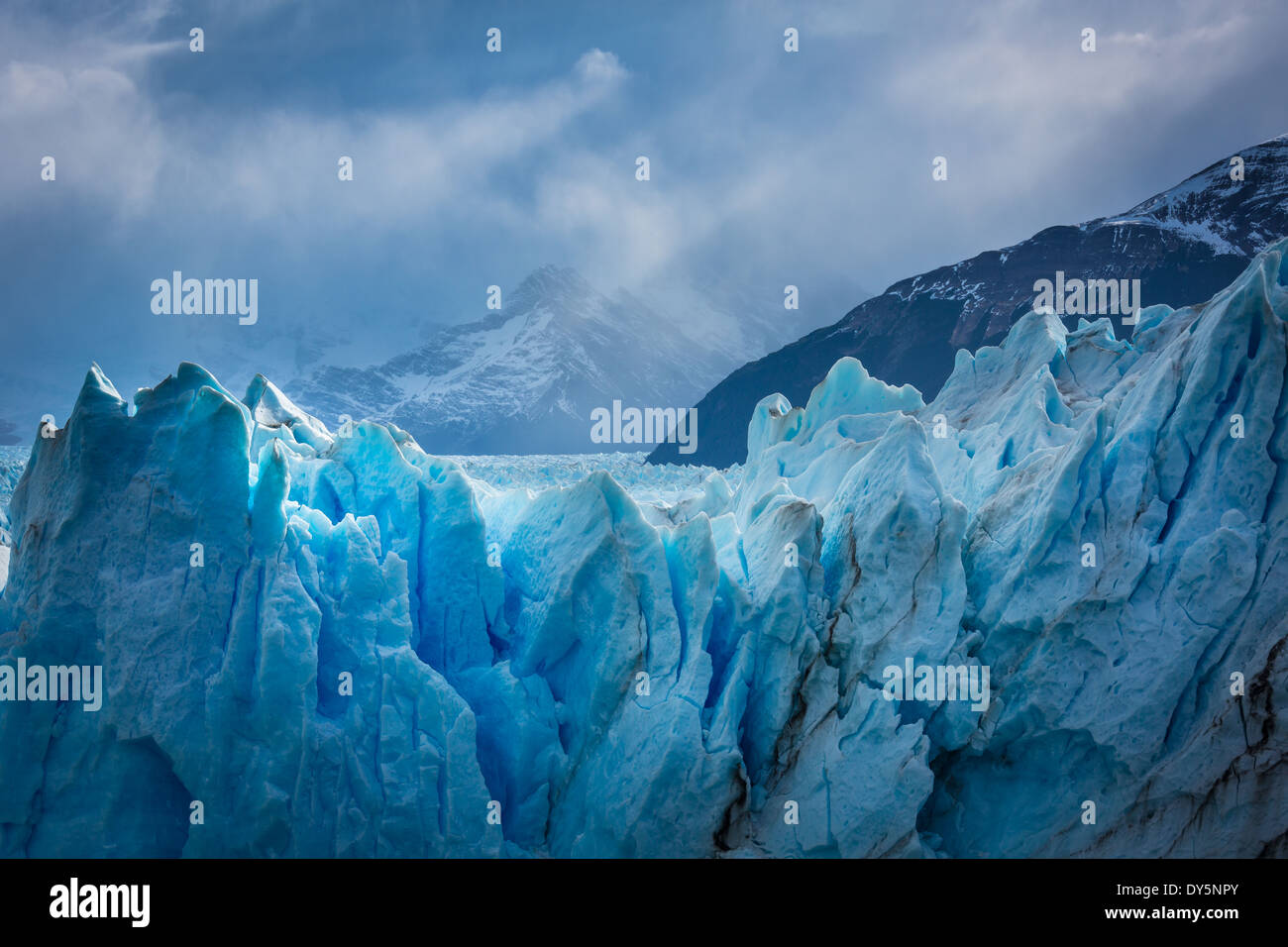 The Perito Moreno Glacier is a glacier located in the Los Glaciares National Park in southwest Santa Cruz province, Stock Photo
