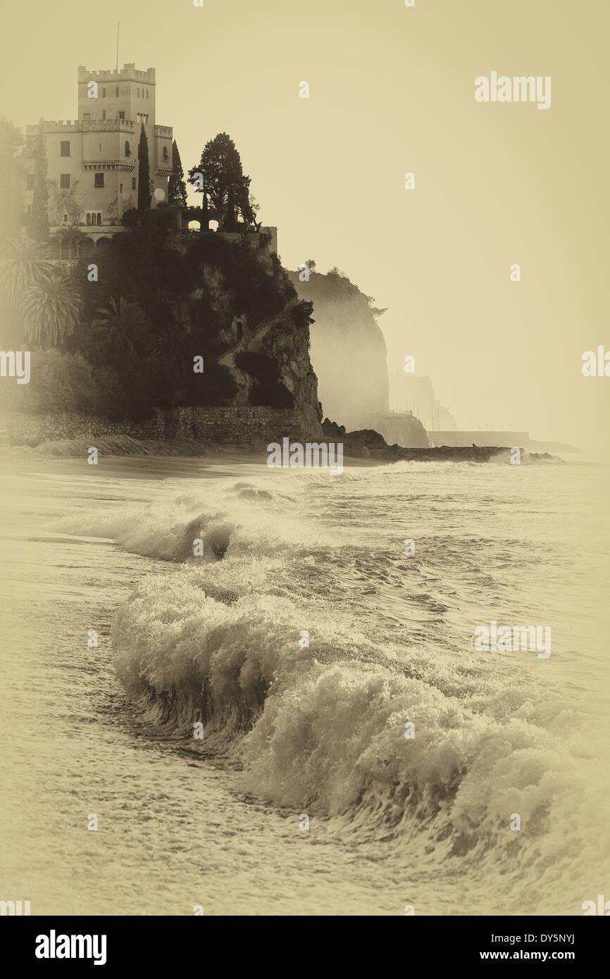 An oldish photo of Finale Ligure beach, Italy, EU Stock Photo
