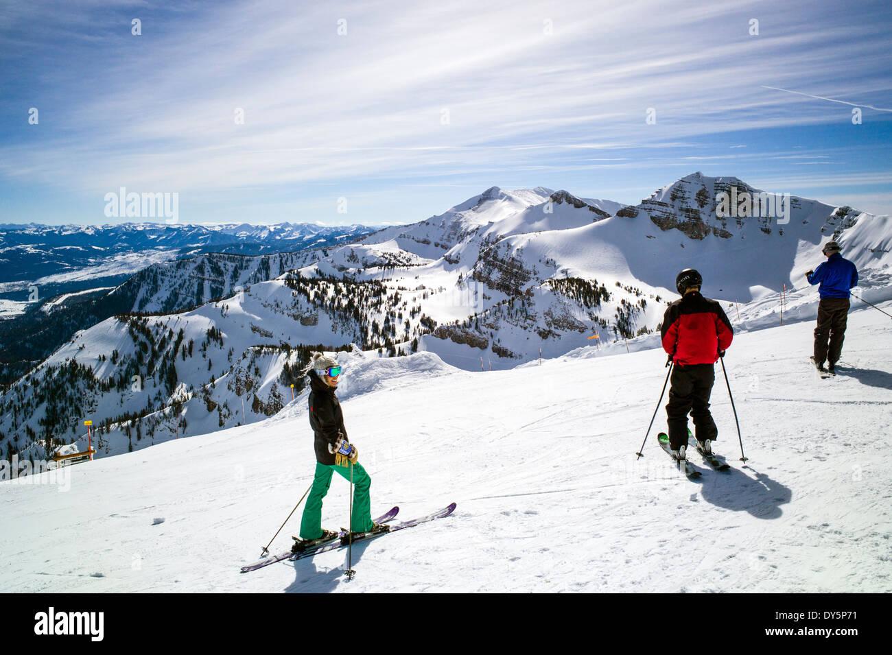 Skiers at the top of Jackson Hole Mountain Resort, Jackson, Wyoming, USA Stock Photo